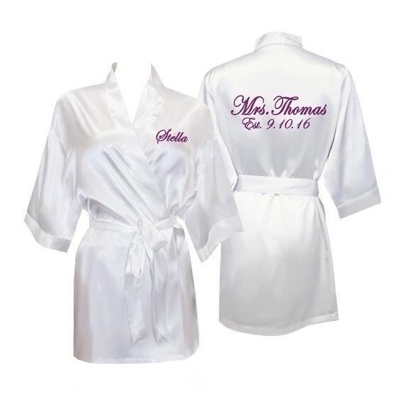 Personalized Name Satin Bride Bridal Shower Pajamas