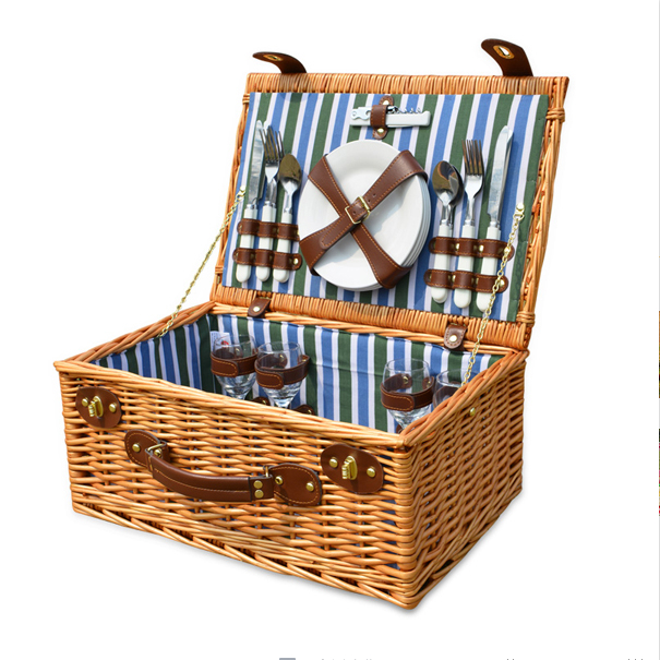 Wicker Basket Wicker Camping Picnic Basket Outdoor Willow Picnic Baskets Handmade Picnic Basket Set For 4Persons Picnic Party