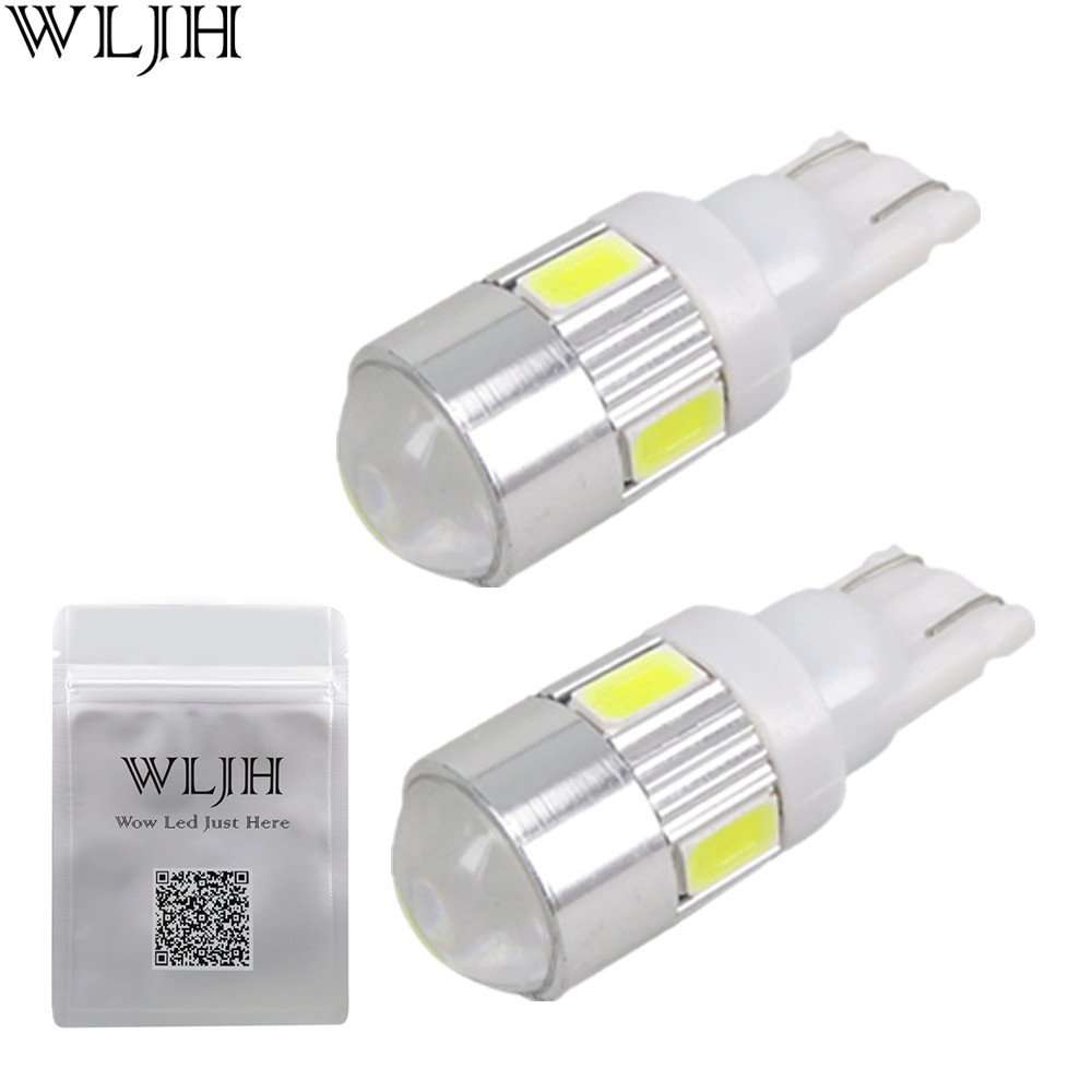 WLJH 2x High Power Bright White Led Car Light Source 168 194 2825 W5W T10 LED Parking Lights lamp Bulbs 12V With Projector Lens