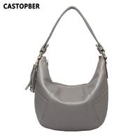 Genuine Leather Hobo Bags Tassel Women Famous Designer Small Handbags 2016 New Arrival Cowhide Leather Womens