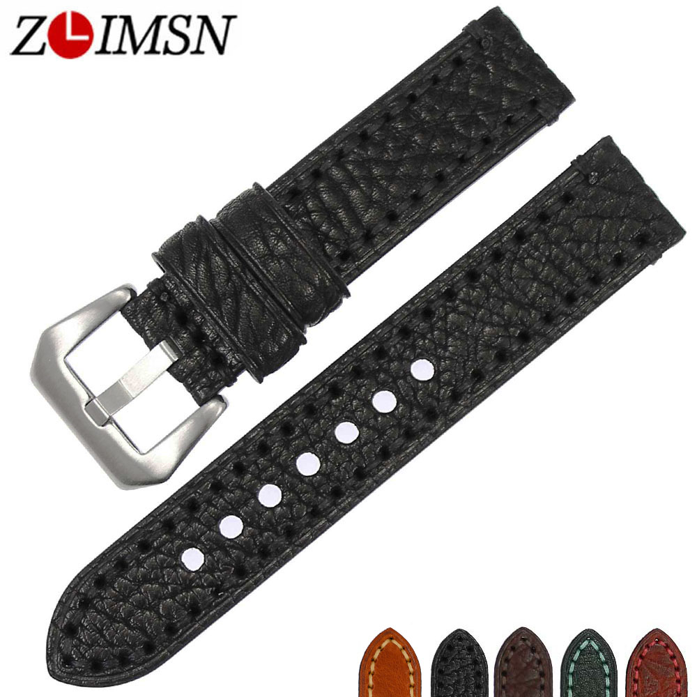 ZLIMSN New Watch accessories Italian cow leather watch band 20mm 22mm 24mm 26mm watchbands men watch strap Suitable for Panerai new matte red gray blue leather watchband 22mm 24mm 26mm retro strap handmade men s watch straps for panerai