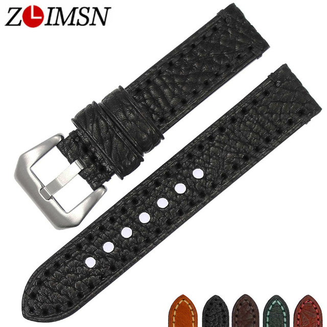 ZLIMSN New Watch accessories Italian cow leather watch band 20mm 22mm 24mm 26mm watchbands men watch strap Suitable for Panerai