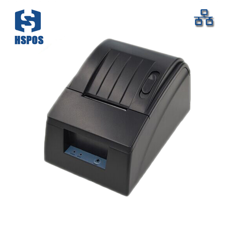Pos 58mm desktop thermal receipt printer ethernet high quality low noise and cost printing machine support wired print
