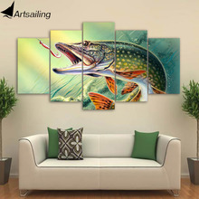 ArtSailing 5 panel canvas art print HD Fishing big Fish Modular pictures image paintings for living room wall CU-910