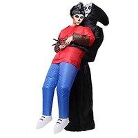 Opblaasbare Grim Reaper Death Kostuum Scary Ghost Skelet Opblaasbare Suits Halloween Volwassen Blow Up Fancy Dress Cosplay Kostuum