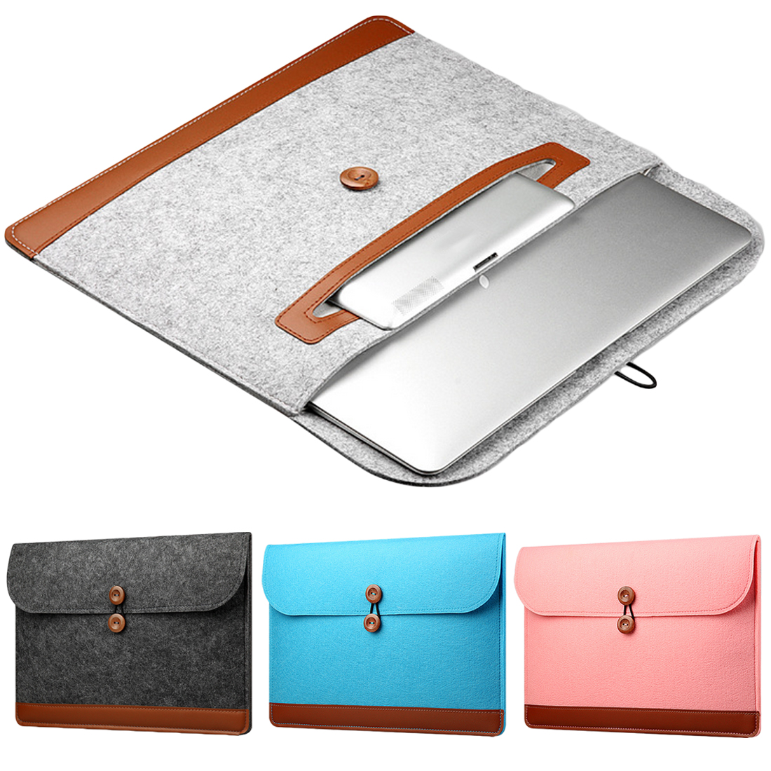 Image 4 - Centechia New Fashion Soft Sleeve Bag Case For Apple Macbook Air Pro Retina 11 12 13 15 Laptop Anti scratch Felt Cover-in Laptop Bags & Cases from Computer & Office