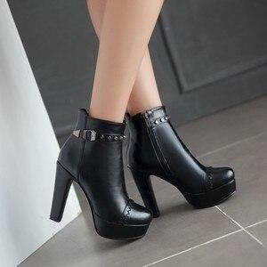 Image 2 - Winter stijl dij hoge vrouwen vrouw femininas enkellaarsjes botas masculina zapatos botines mujer chaussure femme schoenen 603 2