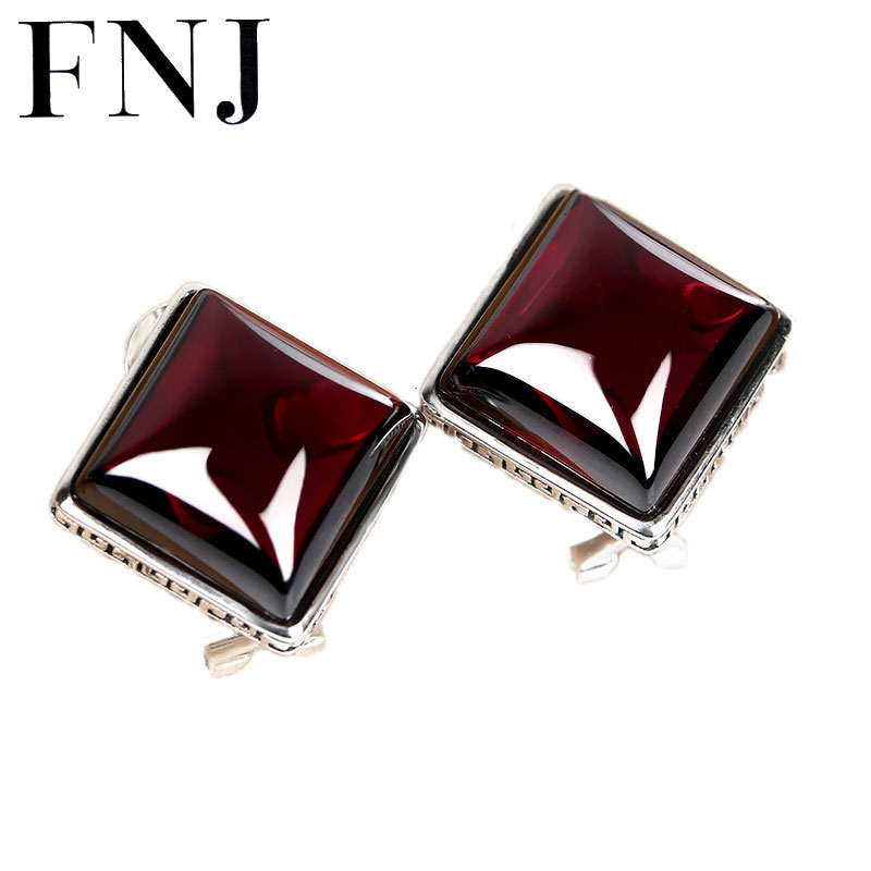 все цены на 925 Silver Earring Square Red Cubic Zircon Stone S925 Sterling Silver boucle d'oreille Stud Earrings for Women Jewelry онлайн