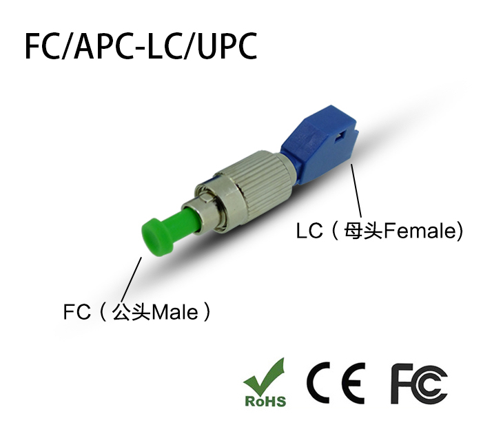 FC/APC-LC/UPC Hybrid Adapter Single Mode SM 9/125 Fiber Optic Adapter 2.5mm To 1.25mm LC(Female) To FC(Male) Connector