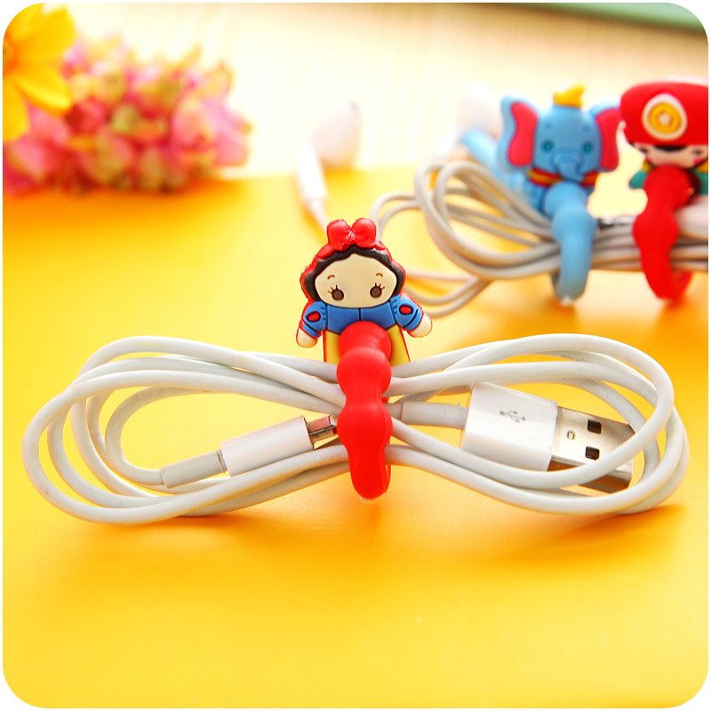 30PCS/lot Princess/Cat/ Bear Model Cartoon Animal Long Cable Winder Headphone Earphone Organizer Wire Holder for USB Data Line