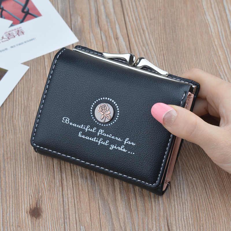 Nova Moda Pu Couro Mulheres Carteira Slim a Menina Bolsa Mini Bolsa Da Moeda Titular Do Cartão Do Vintage Ocasional Curto Pequenas Carteiras Para feminino