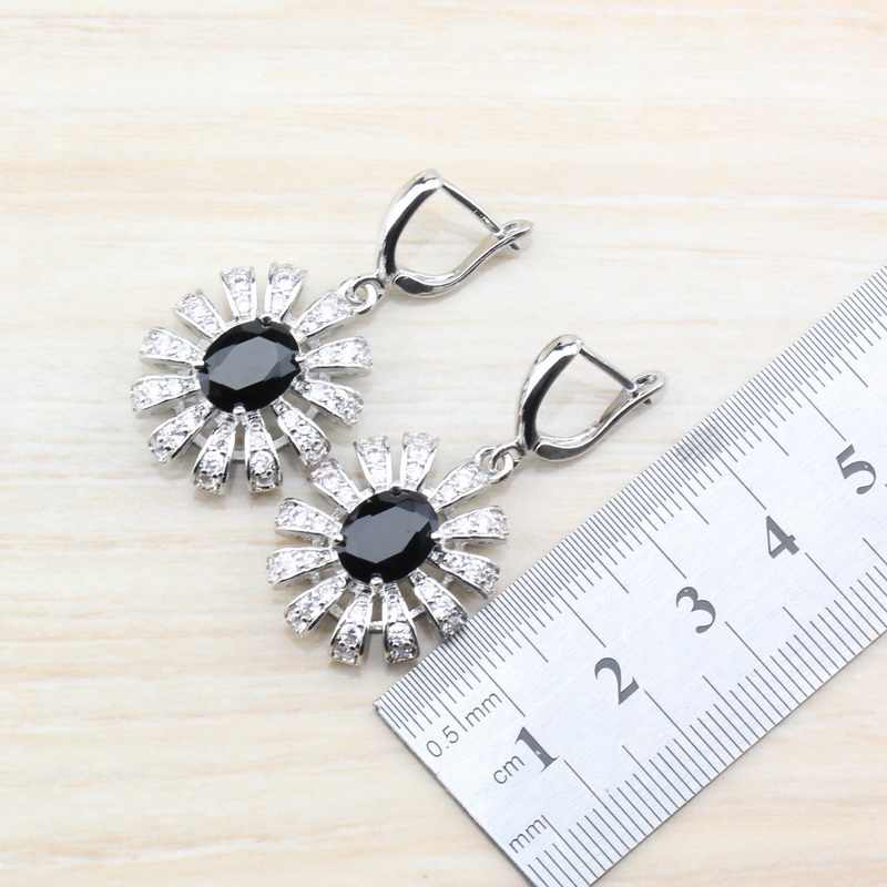 925 Sterling Silber Einzigartige Blume Schmuck Sets Für Frauen Schwarz Zirkon Kristall Ring Größe 6/7/8/ 9/10 armband Länge 21CM JS204