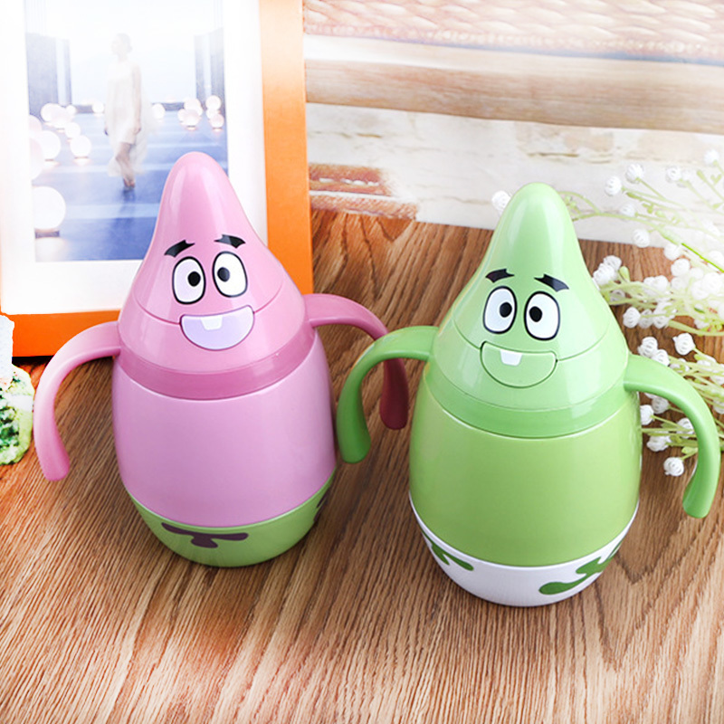 Cartoon Patrick Star Water Bottles With Straws Outdoor Sport Insulation Drinkware Creative Portable Mini Water Bottles 230 ML