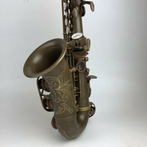 Античный Сопрано саксофон Bb изогнутый Sax High F # с чехлом