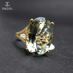 Image 3 - Nice Black Friday & Christmas gift Big natural green amethyst Ring yellow gold color 925 silver gemstone jewelry for girls TBJ