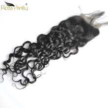 Ross Pretty Remy Hair Brazilian Natural Wave closure nature human hair Swiss Lace Closure 4*4 Middle and Free Part