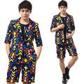Personality Male Costume  Flower print Slim suits Nightclub Male singer show performance Set Stage dance wear