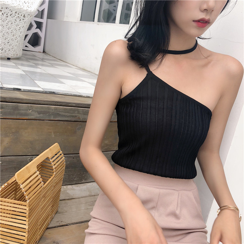 Summer Womens Knitting Off shoulder Stretchy Camis Tops Girl Knitted Tank Tops Sleeveless T shirts Top For Female 2018