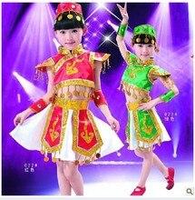 Children's Ballroom Costumes  Mongolian Dance Clothing Tibetan Mongolia Dance Costume Chinese Folk Dance Skirt with Headress