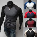 2016 Men'S Fashion Stitching Round Neck Long-Sleeved Slim Sweaters, Pull Homme Man Designer Slim Pullover M ~ XXXL 5 Colors