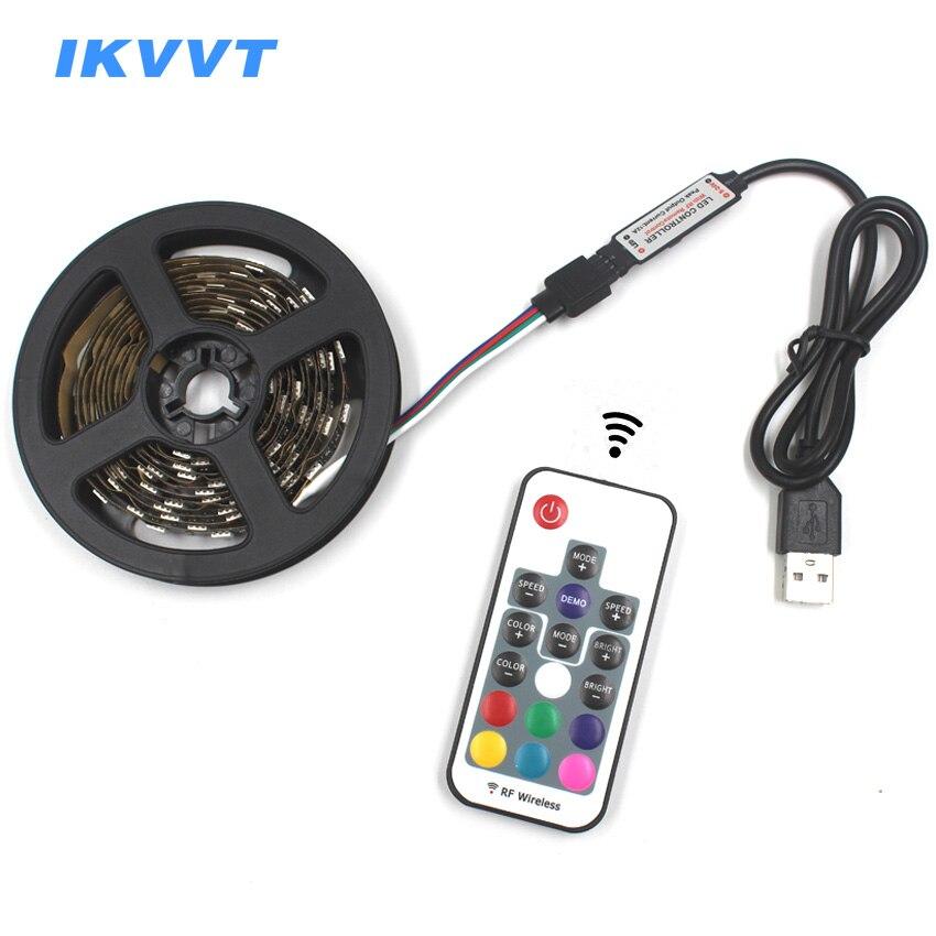 IKVVT 5V 1M 2M Non-waterproof 5050 RGB USB Cable LED Strip Lights 17keys RF Remote Controller TV Background lighting Decor Lamp