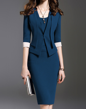 New Fashion Women Dress Set Formal Pencil Dress Suits Elegant Vintage Office Wear Work Clothes For Ladies Cotton Dress Plus Size 1