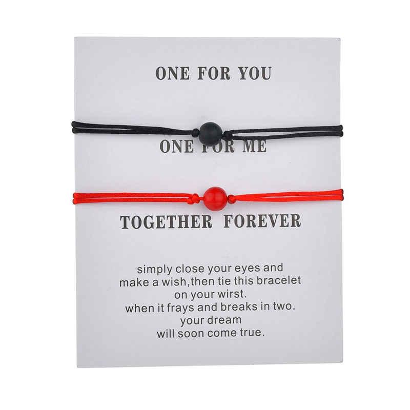 Pulseras de plata antigua brazalete con tarjeta blanco negro mujeres hombres cuerda cadena pulseras mejor amigo joyería