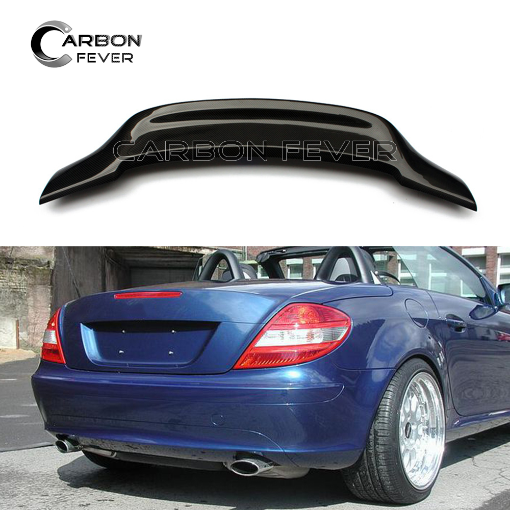 Carbon Fiber Rear Spoiler Wing Boot Tail Lip For Mercedes R171 SLK Class 2004 2010 SLK300