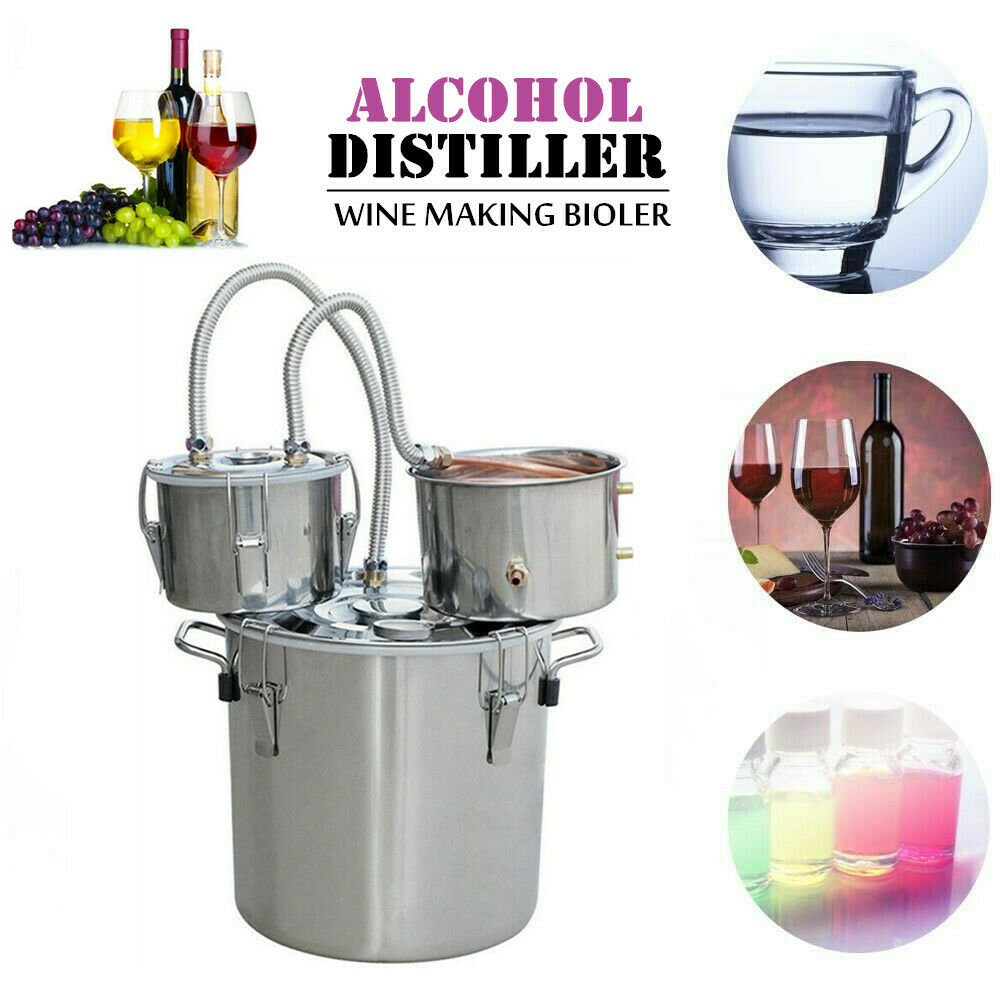 8-30L Alcohol Distiller Stainless Steel Moonshine Alcohol Stainless Copper DIY Home Distilling Brandy Fruit Wine Water Extracts
