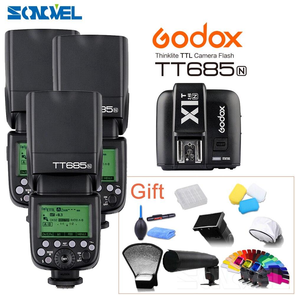 3 stücke Godox TT685N 2,4g HSS 1/8000 s i-TTL GN60 Wireless Flash + X1T-N TTL trigger für Nikon D800 D700 D7100 D7000 D5100 D810 D90