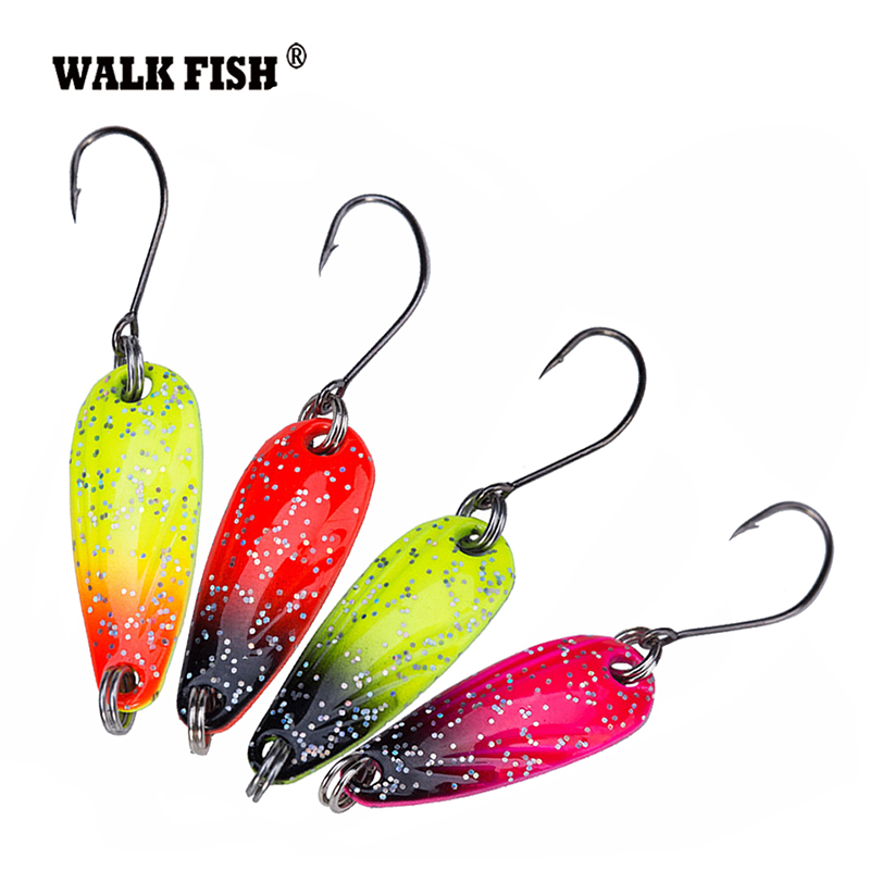 Walk Fish 4Pcs/Lot 2.8cm 2.5g Metal Spinner Spoon Fishing Lure Hard Baits Sequins Noise Paillette with VMC Hook Tackle HH012 dagezi metal spinner spoon fishing lure hard baits sequins noise paillette with feather treble hook tackle 10 15 20g