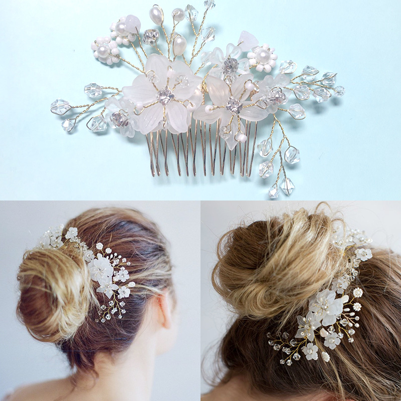 Crystal Hair Comb wedding hair accessories flower Headwear bridal Head Combs Bride Hair Decoration Hair Jewelry