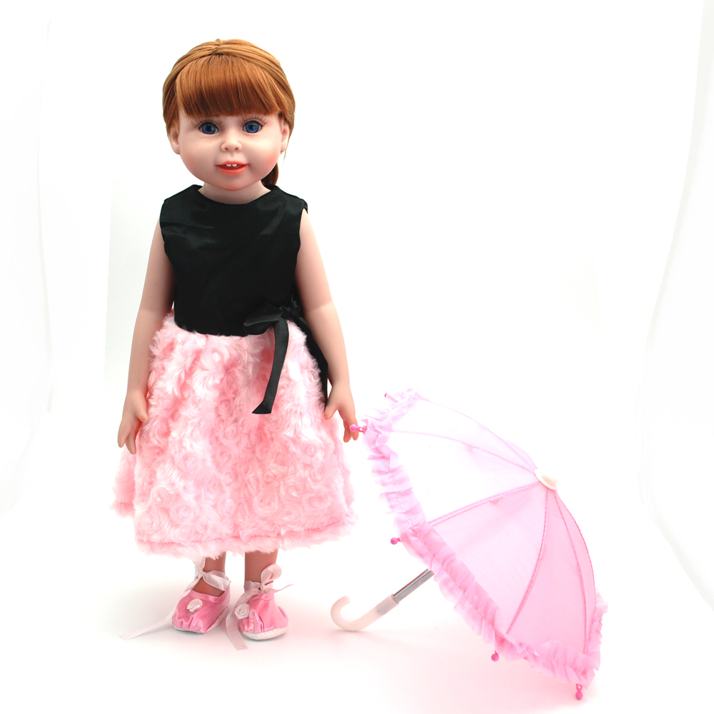 NicoSeeWonder 18 Inch Bonecas Bebe Reborn Baby Dolls Full Silicone Reborn Toddler Toys Girl Doll With Black/Pink Dress For Gift high quality warm pink boots doll shoes for 18 inch american girl doll for baby gift