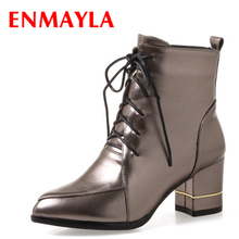ENMAYLA Fashion Pointed Toe Lace-up Ankle Boots Women Chucky Heels Patent Leather Boots High Heels Shoes Woman czrbt retro style pointed toe genuine leather women ankle boots high heels 6 5cm patent leather deep color women casual shoes