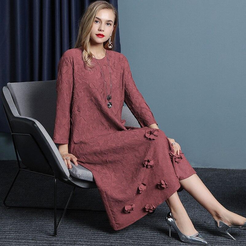 ISSEY Robe automne femmes station Européenne mode rétro fleur lâche grand moyen long robes plissé MIYAKE livraison shippin