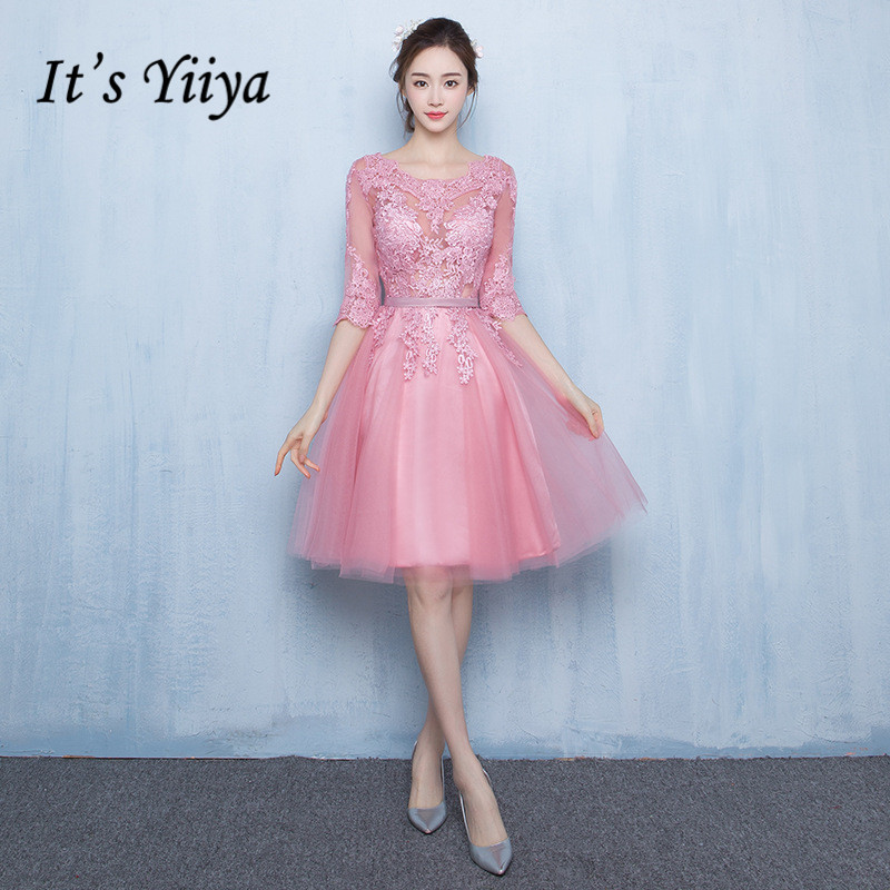 It's YiiYa New Pink Illusion Half Sleeves Flowers Backless Zipper Lace   Cocktail     Dress   Knee Length Formal   Dress   Party Gown LX059