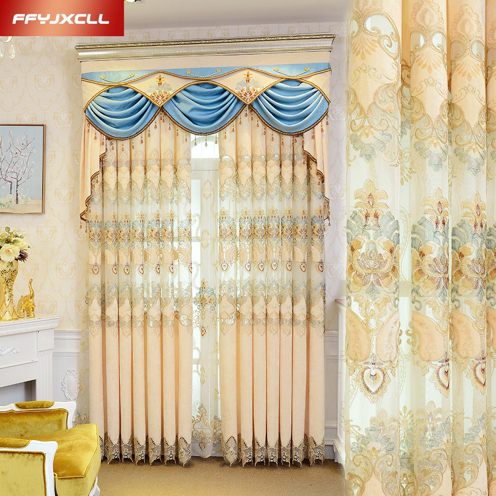 Pretty Tulle Luxury Embroidered Valance Curtain Fabric For living Room Bedroom Window Treatment Drapes Decoration