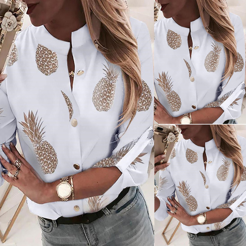 Pineapple Blouse Women's Shirt Ananas White Long Sleeve Blouses Woman 19 Womens Tops and Blouse Elegant Top Female Autumn New 5