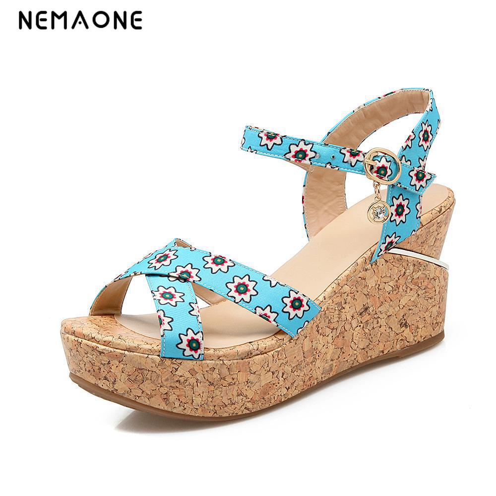 NEMAONE Summer New Open Toe Fish Head Fashion High Heels Wedge Sandals female shoes women platform shoes women sandals 2017 summer new open toe fish head fashion platform high heels ladies wedge sandals female shoes genuine leather