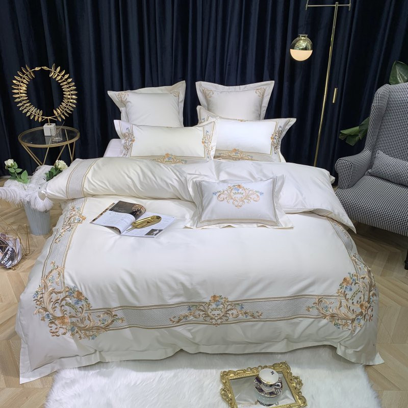 2019 Luxury Embroidery Sheet Pillowcase And Duvet Cover Sets Egyptian Cotton Bedlinen Queen King Size 4/7pcs Bedding Set