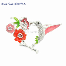 The Romantic Art Of Rhinestone Flower Brooches Pretty Enamel Hummingbird Bird Brooch Pin for Women Free Shipping 6 Color OFA2111