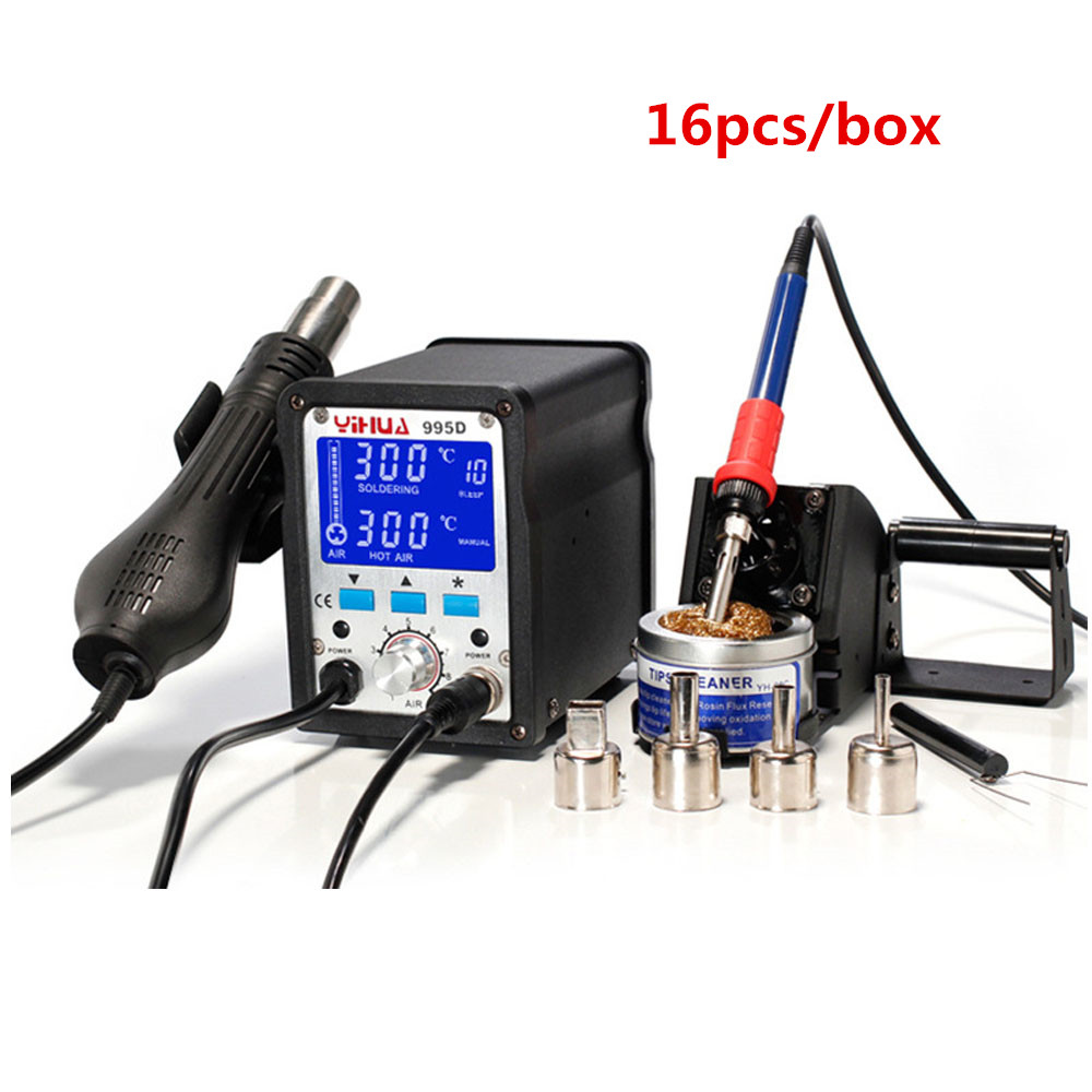 16 PCS/Lot 110V/220V 2 In 1 Yihua Soldering Station 995d Hot Air Gun Soldering Iron Motherboard Desoldering Welding Repair yihua soldering station 995d hot air gun soldering iron motherboard desoldering welding repair 110v 220v 2 in 1 electric iron