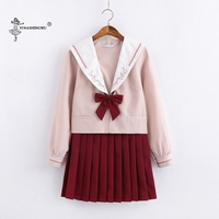 Long sleeved JK Uniforms Japanese Sailor Suit School Uniform Cosplay Student Jk Academy Clothing Wine Red Skirt Pleated Skirt