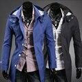 2014 venta Directa Venta Satén Lycra Medio Sólido Marca Polo zanja Breve con Una Capucha Delgada prendas de Vestir Exteriores de Moda Masculina de Los Hombres ropa