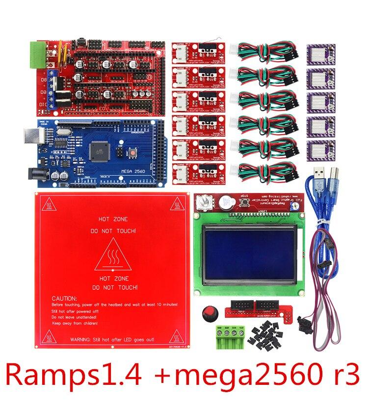 3D Imprimante Pièces Rampes 1.4 + mega2560 R3 MK2B Chaude Lit 12864