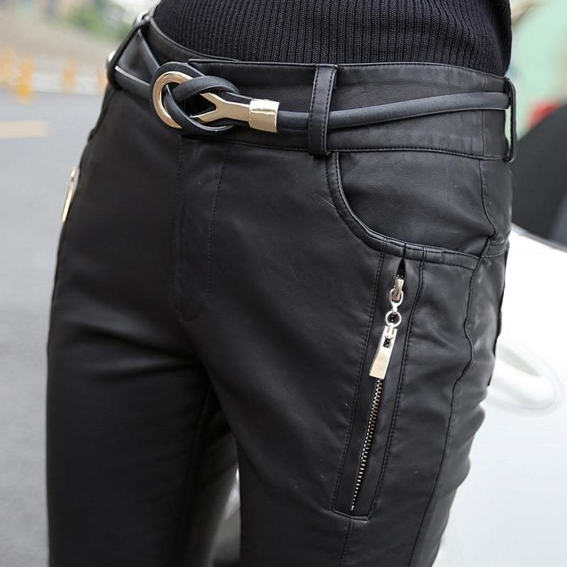 Nouveau automne femmes Faux cuir Slim Fit pantalons Leggings Skinny PU cuir femmes crayon pantalon femme mode pantalon Chic coréen - 5