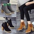 Moda Feminina de alta qualidade Cabeça Redonda de Couro Ankle Boots de Salto Alto Botas Martin 170210