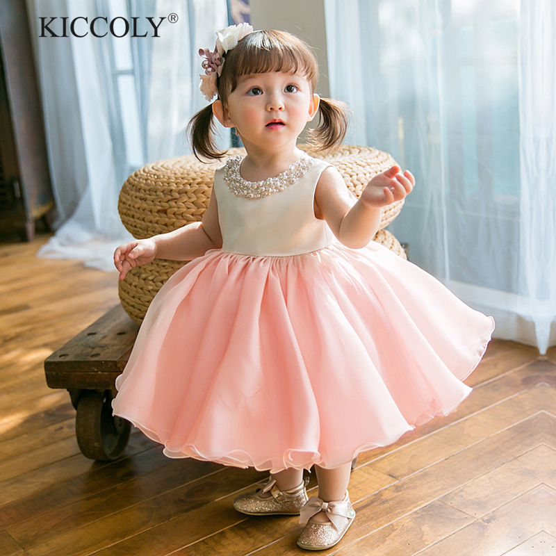 2018 Summer Girl Dress Flower Bead Ball Gown Children Wedding Party Dresses Kids Princess Kids Dresses for Girls 3-10T 2 15y girl dresses floral ball gown clothing for girls clothes children christmas princess summer girl party dress for kids
