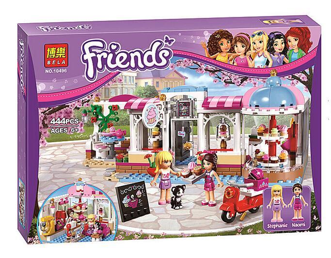 Petite enfance en plastique assemblage lac ville gâteau café jouets 444 pièces filles princesse série blocs de construction jeu pour enfants comme cadeau