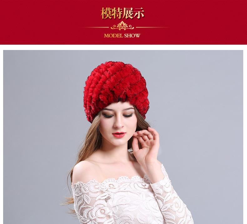 ღ Ƹ̵̡Ӝ̵̨̄Ʒ ღYIFEI Women Genuine Knitted Rabbit Fur Hats For Women ... 1155d8aadad
